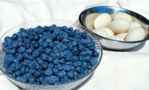 Bowl of blueberries, bowl of eggs