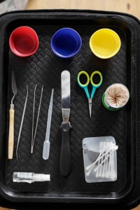Food Stylist's tool tray on a photo shoot