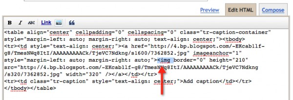 blogger screenshot showing the image tag