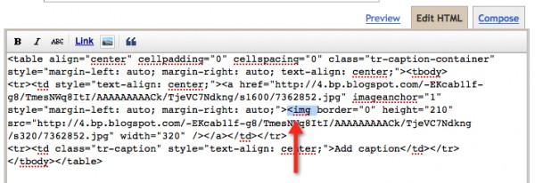 blogger screenshot showing the image tag