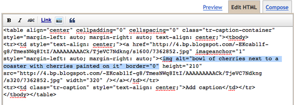 blogger screen shot showing the alt tag in the HTML window