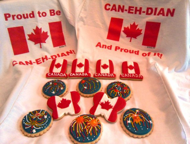 Canada Flag Cookies and Fireworks Cookies