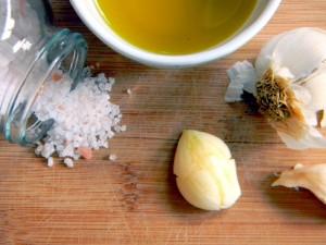 salt, garlic & olive oil