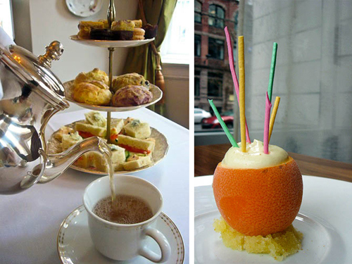 tea and cookies, oranges with a straws
