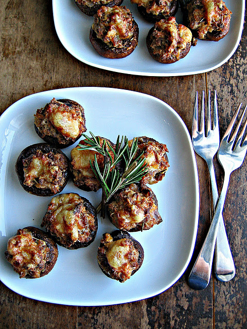 Sausage and Asiago stuffed mushrooms with balsamic glaze