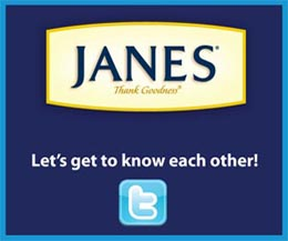 Janes Foods Ad Twitter FBC sidebar