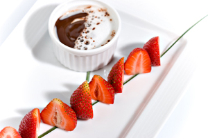 Strawberry in chocolate fondue, from top
