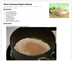 Screenshot of an Easy Recipe formatted recipe