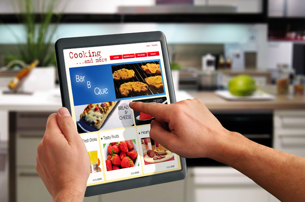 a cooking website on a tablet