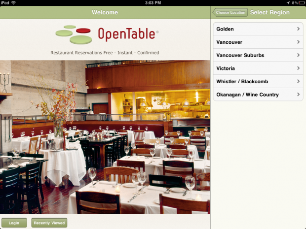 Open Table App Screenshop