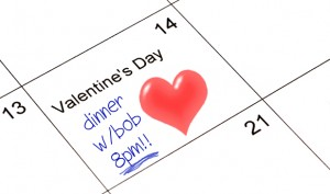Valentines Day dinner written in calendar