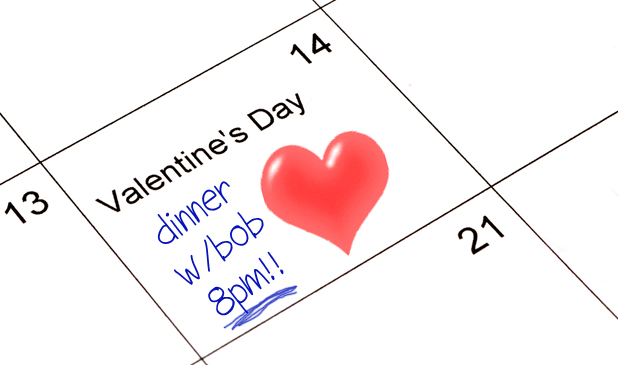 Valentines Day dinner written in calendar