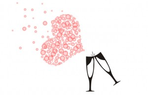 heart bubbles coming out of champagne glasses