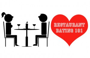 a stick figure couple eating a romantic dinner