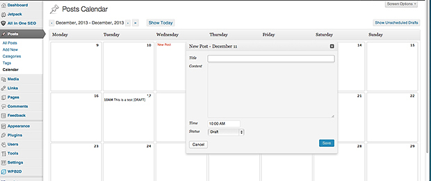 Editorial Calendar Plugin Screenshot