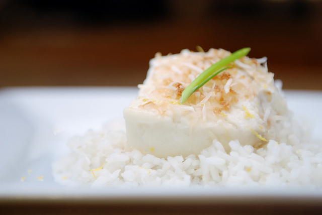 Coconut Milk Poached Halibut