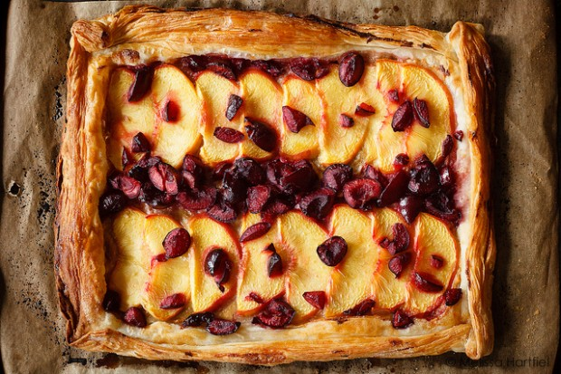 Peach, Cherry honey tart
