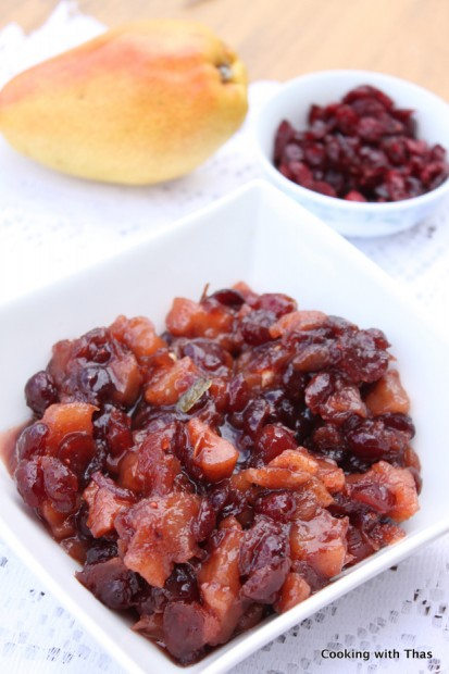 peach and dried cranberry chutney | Cooking with Thas