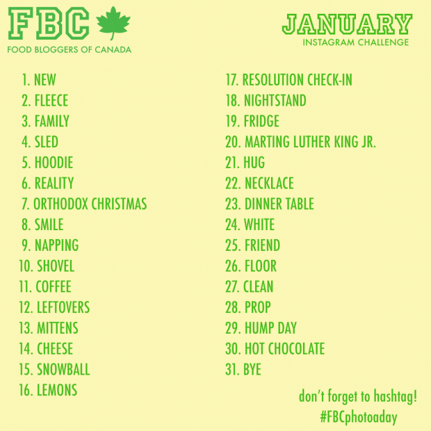 The FBC January Instagram Photo A Day Challenge | www.foodbloggersofcanada.com