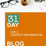 31 Day Blog Challenge Day 2: Contact Information
