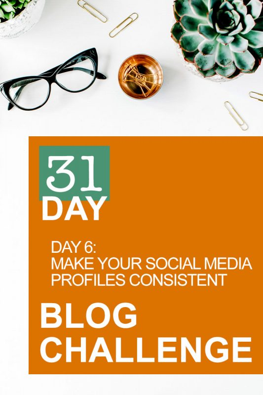 31 Day Blog Challenge Day 6: Make Your Social Media Profiles Consistent