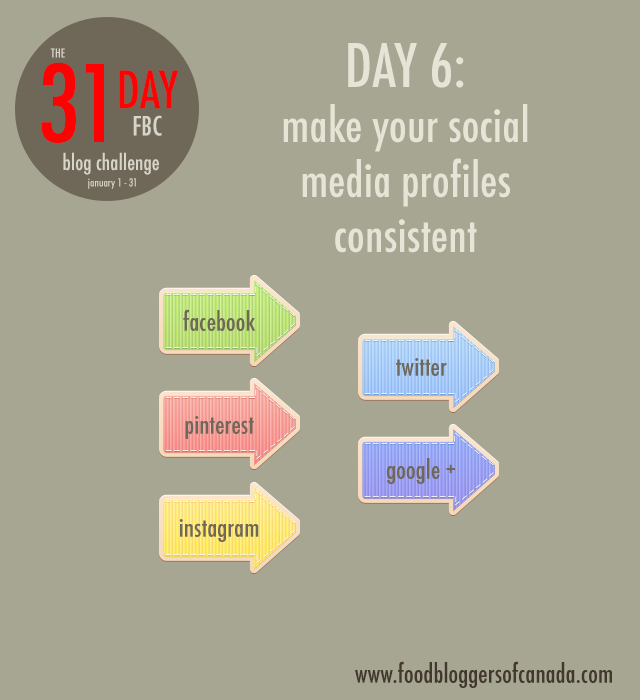 FBC 31 day blog challenge day 6: make your social media profiles consistent   www.foodbloggersofcanada.com