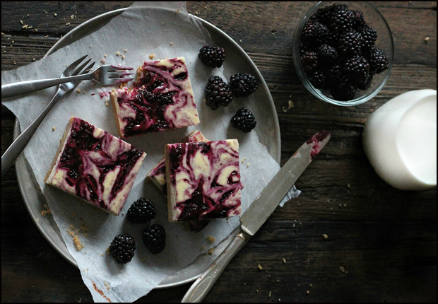 Blackberry Cheesecake Bars | The Brunette Baker