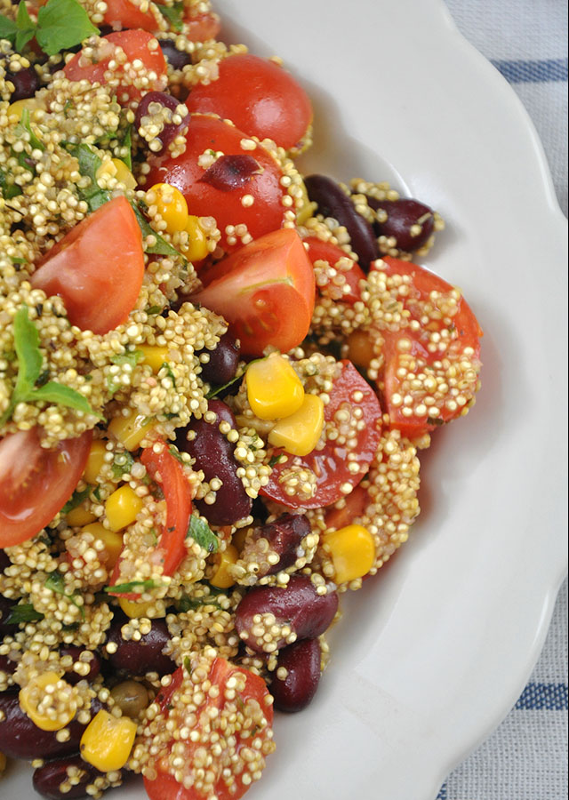 Mexican Quinoa Salad with tomatoes, corn and beans