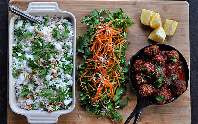 On Board in 20: Mini Ricotta Meatballs over Lemon Rice & Peas | Food Bloggers of Canada