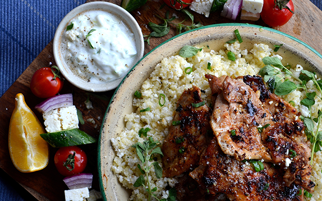 On Board in 20: Sticky Greek Chicken over Cauliflower Couscous | Food Bloggers of Canada