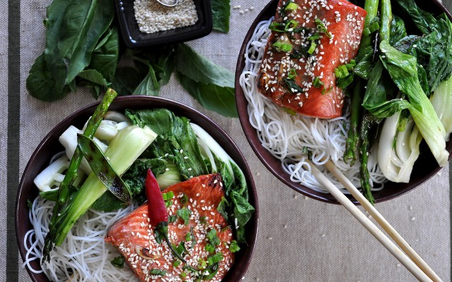 On Board: Soy-Glazed Salmon with Blistered Spring Vegetables & Rice Noodles  | Food Bloggers of Canada