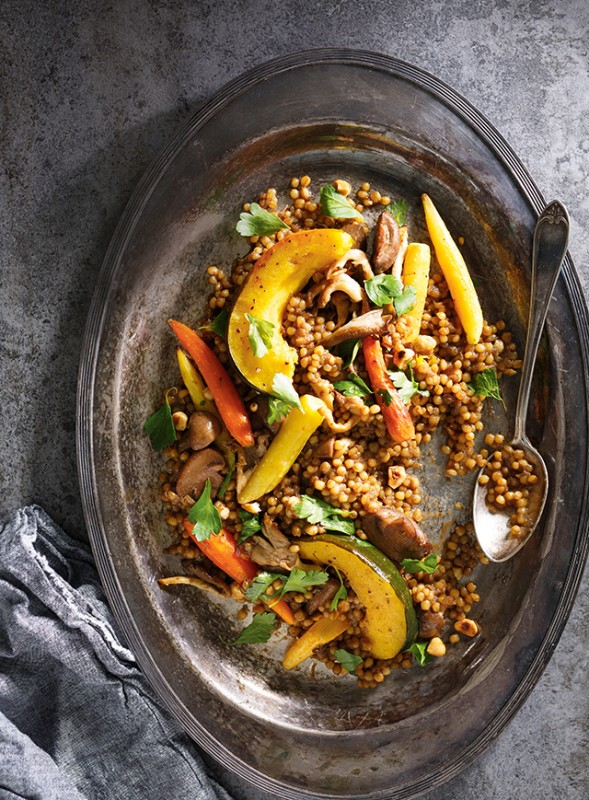 Ricardo's wheat Berry Risotto with Mushrooms, Roasted Vegetables and Hazelnuts