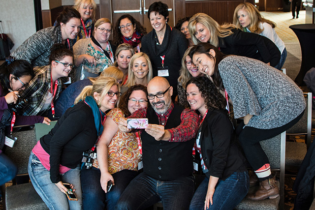 FBCers and NY Times Food Photographer Andrew Scrivani cram in for an Ellen style selfie at FBC2015 in Montreal.  Photo courtesy of Beth Dunham