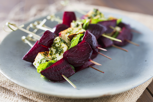 Beet and Halloumi Skewers