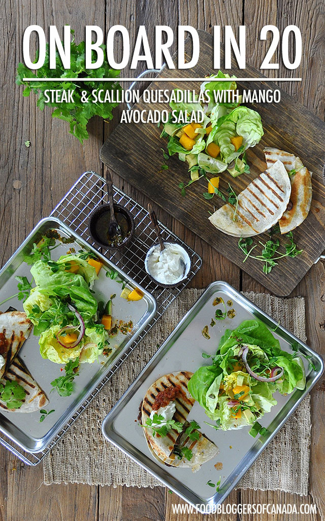 20 Minute Meals: Steak Quesadillas with Mango Avocado Salad | Food Bloggers of Canada
