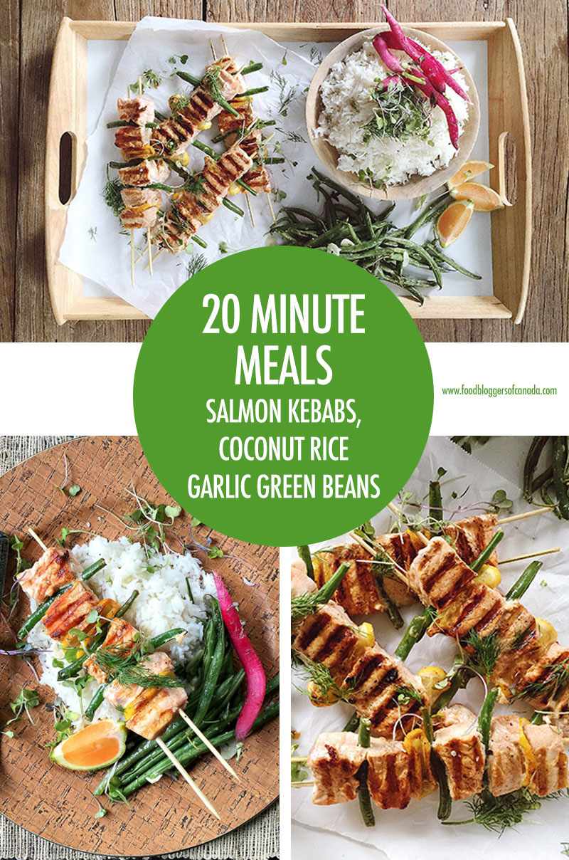 20 Minute Meals Salmon Kebabs With Coconut Rice and Garlic Green Beans | Food Bloggers of Canada