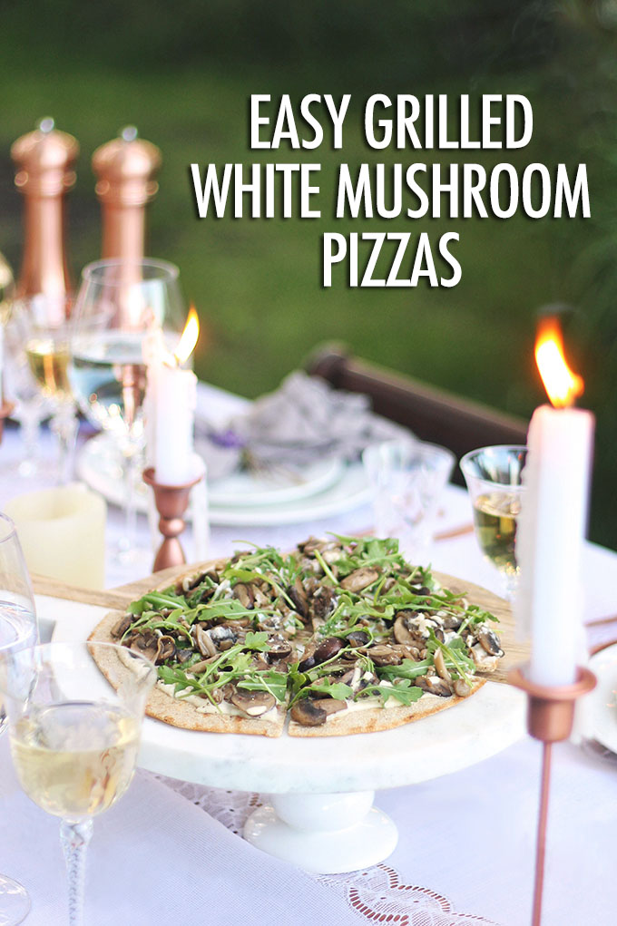 Grilled mushroom pizzas on a picnic table
