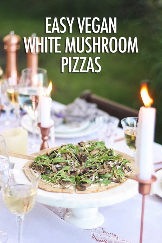 Easy Vegan White Mushroom Pizzas