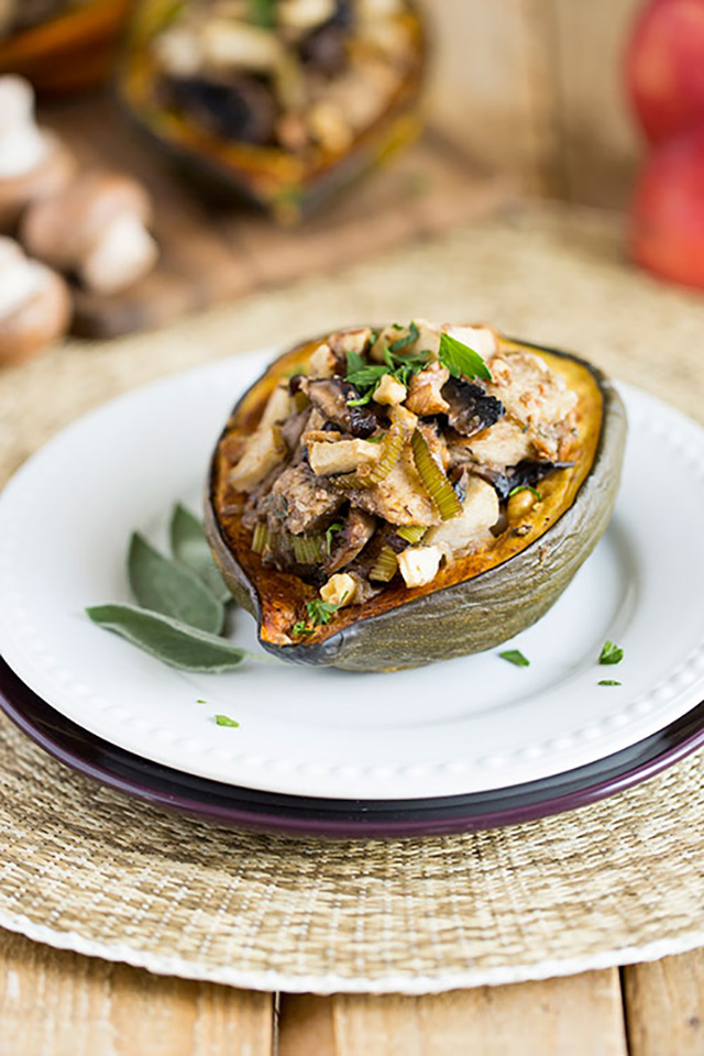 Mushroom, Apple and Walnut Stuffed Squash