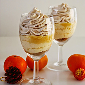 Eggnog Mousse with Tangerine Curd & Biscoff Whipped Cream | Cinnamon & Coriander