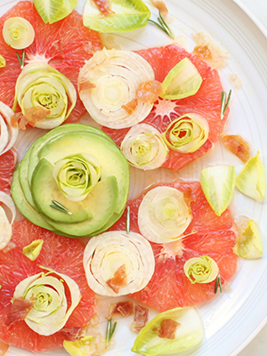 Pink Grapefruit Endive and Avocado Salad with Prosciutto | Dish 'n' the Kitchen