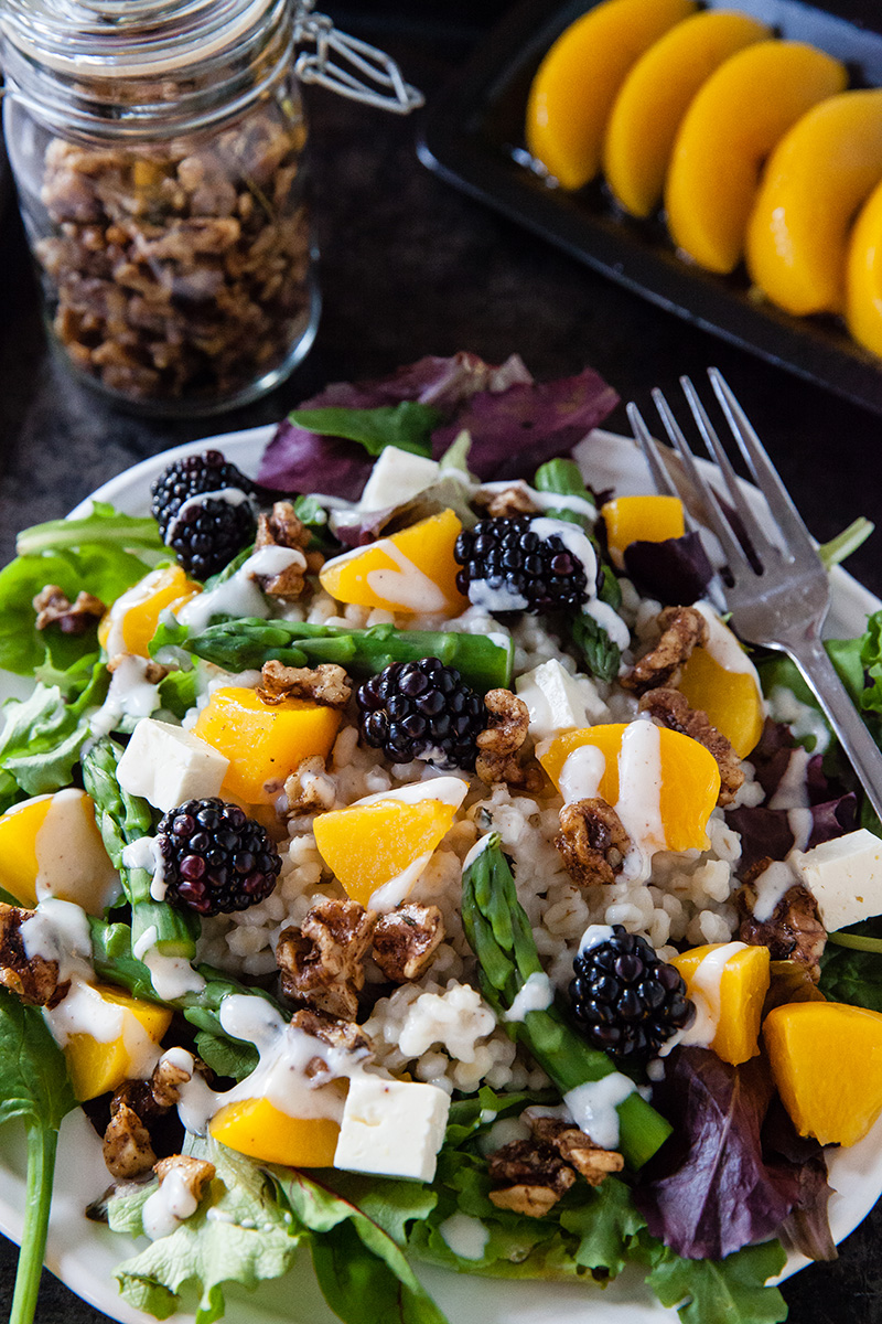 Peach & Barley Salad with Asparagus | Food Bloggers of Canada