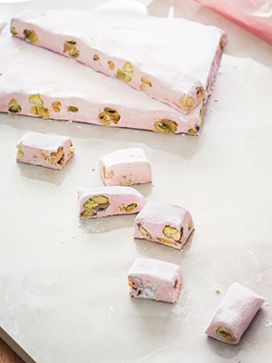 Chewy Cherry Pistachio Nougat | Rhubarb and Cod