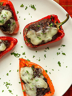 Black Bean Portobello Stuffed Peppers | The Food Blog