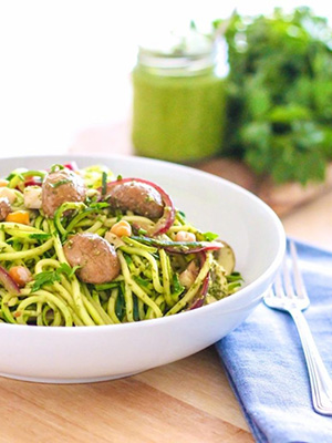 Pesto Zucchini Noodles with Mushrooms & Chickpeas | Eat Spin Run Repeat