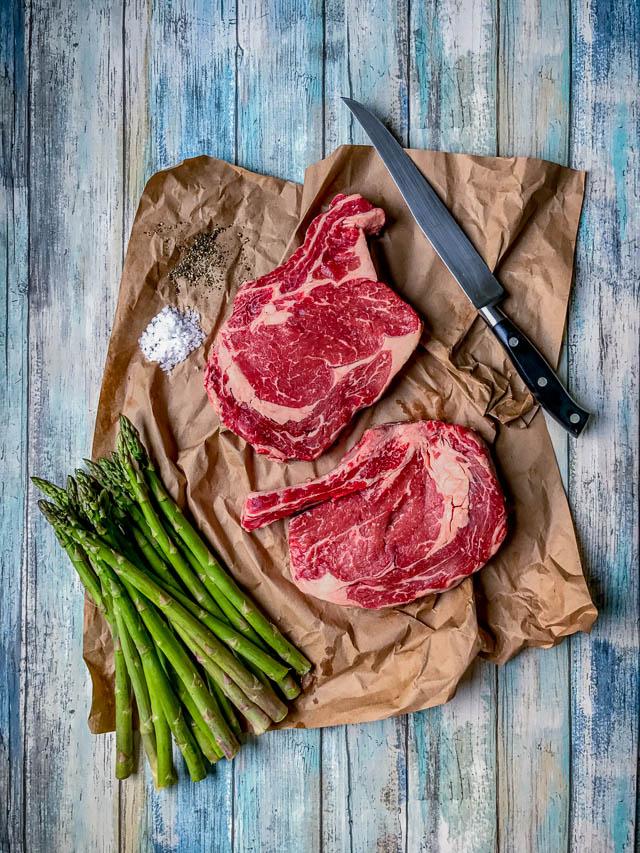 Food Styling Meat Steaks On Blue Wood