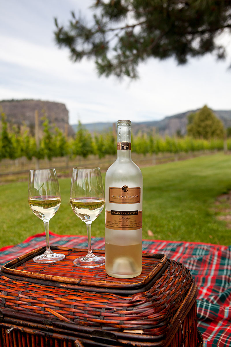 Jackson Triggs white wine on a picnic basket