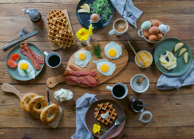 Breakfast Tablescape Scene with eggs