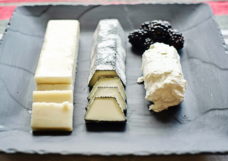 Three goat cheeses