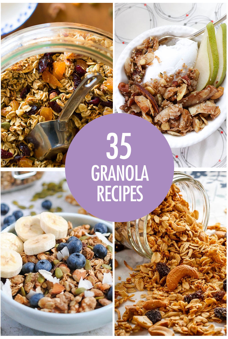 Collage of granola recipes